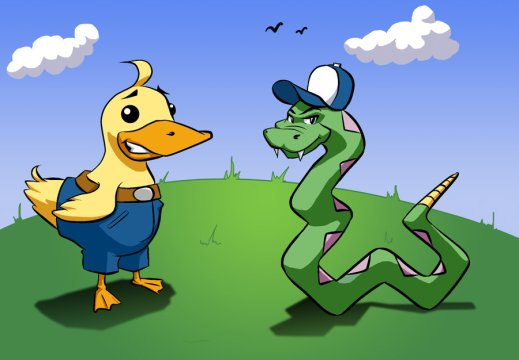 duck and snake